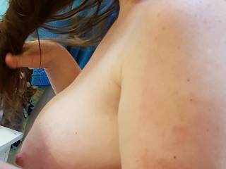 Drying my hair in the buff... do you like my heavy milk filled tits?
