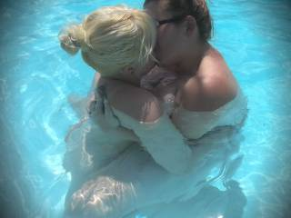 Belle kissing our new Girlfriend Velle in the pool before some good hot sex!