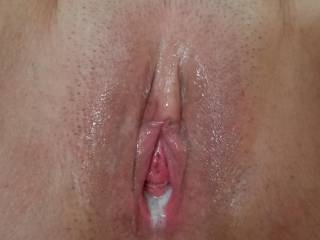 My new fuck buddies creampie pussy. Who wants to clean her up or add another load?