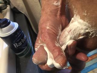 Going to shave, but had to masturbate when I put the shaving cream on.