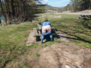 Showing my ass at a rest stop
