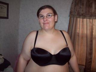 Wife wearing her new bra, she loves to take pics of her body.  Any requests for pics send us a message and we will take them for you