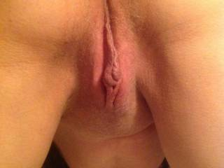 Shaved, in position and ready to receive