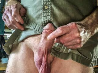 I love showing my cock and balls as I am beginning to get aroused.