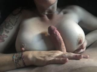 7inch hard cock between my tits!!!