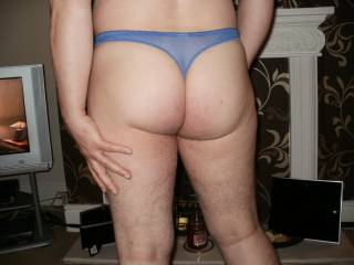 my ass in tight blue panties