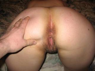 nice arse! well id start by licking your arsehole while i finger your pussy, then id start licking your clit while i finger your arse, when your good and ready i would fuck you doggy hard and deep, and finish by cumming in your pussy or arse! hows that?????