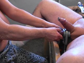 I stuffed his cock with a penis plug and put the crusher around those balls. I luv using our toys on those huge balls and fat cock of his and it wasn't long before he blew a load for me. Do you like your balls to be crushed??