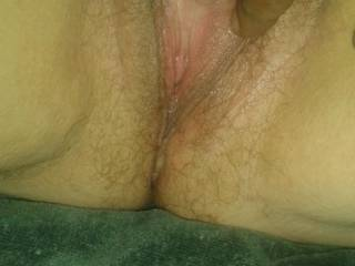 Nice and juicy pussy. Just been finger fucked with three fingers