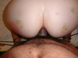 Sub Karen with my cock buried almost fully inside of her tight asshole.