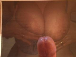 ukwife36d sent me a pic of her tits for cum - we chatted through PM as I unloaded all over them. I love interaction as I cum!