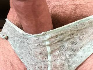 Playing in my wifes lacy pale blue panties...