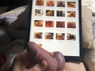 My cock is so swollen as I choose photos to stroke off to.