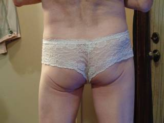 White lace panties rear view. I LOVE how they feel in my ass crack. Wife says it looks hot. What do yall think?