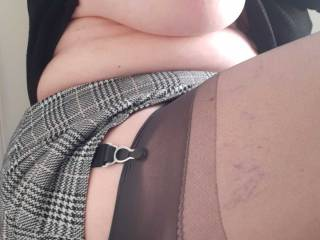 A stocking top and thigh view with Sally\'s exposed tit as well.