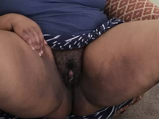 24 yo ebony pussy sitting back in chair ready to be fucked.