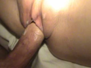Tabitha fucked in her shaved pussy and gets cum on and in that wet sexy hole