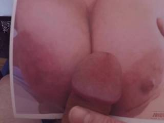 cumfun4u asked for a load on her tits, I overshot ;-) Thanks for the inspiration...