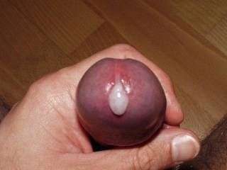 Great shot of your swollen purple head oozing cum!!