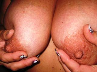 let me lick them then rub the head of my hard cock over them and cover them with my precum