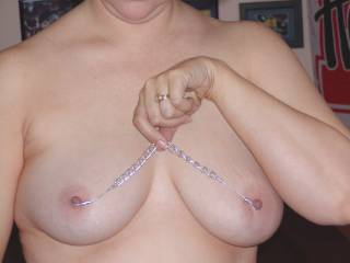 Mature wife posing for the camera.