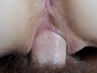 oh yesss...my fat cock stretching her horny little ring.....