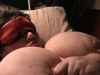 Wife blindfolded at the start of her submissive role.