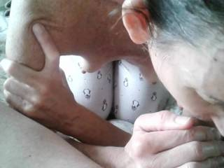I try to have her topless when she\'s sucking my cock. It adds excitement for me!