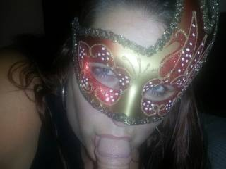 My playmate bought this mask and asked me to wear it while I was sucking his cock, he though it was really sexy..............