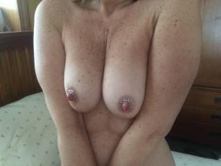 My new no-pierce nipple rings from hubby sure keep my nipples hard. Yowza.  Love how they feel