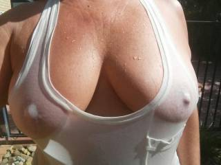 That freezing water  definately  made my tits and nipples very happy...Who wants to suck them now?