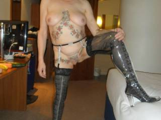 Hi all how do you like my new boots?  comments welcome mature couple