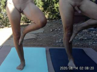 Hubby decided to tape one of our nude yoga sessions. He was not interested in doing yoga until I said I would do it nude. How many of you guys would do yoga if the women were nude? Enjoy the pics!