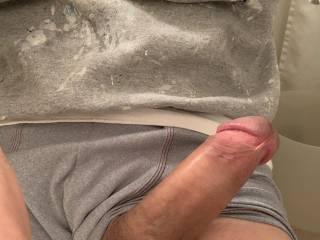 Just at work looking at some pictures of members. Semi hard cock