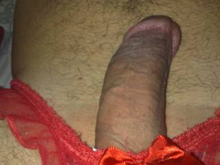 What a gorgeous dick!!!... Looks so desirable in those hot panties... Let me suck you like this...