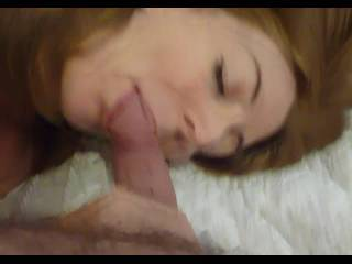 sucking hubby\'s cock and wanking him until taking his cum on my face.