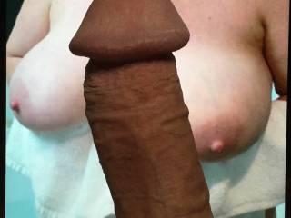 My cock between your beautiful big tits.