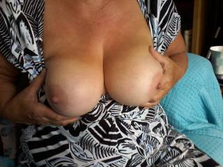 At last she\'s allowed me to post a pic of her lovely 70 y.o. tits