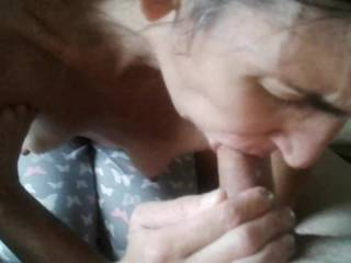 Wife concentrating on my cock. I love watching her as she loves to suck cock!