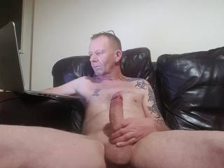 Stroking my hard lubed cock