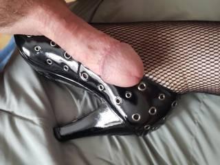 New naughty heels, making him hard!