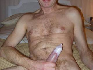 super sexy! If I were with you, I'd rip that condom off and suck your fat, cum drenched cock until you climaxed again all over me.