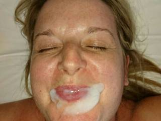 Oooops another big cum facial on her sexy face. What do you think?