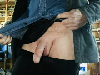 It's very cold out and I was asked to show my cock. I'm going to stroke it and get it hard for her.