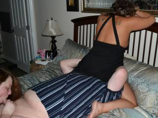 wifey sucking hubby's cock as wife of friend rides his face