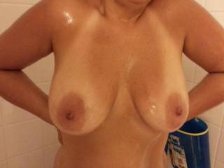 Her wet titties after this morning\'s shower.