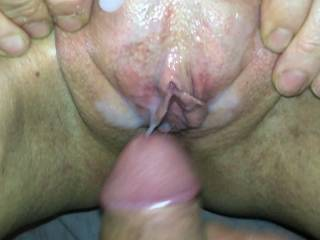 Just can\'t help myself when she asks me to do this. Cum on my pussy babe xx