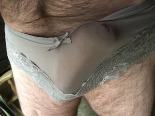 Outlined in her panties. Precum seeping through x