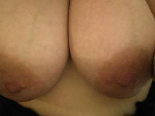 My natural big tits can\'t wait for u to suck on them babies.