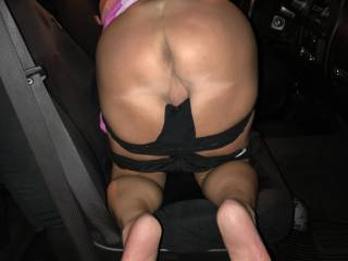 wife`s ass and smooth pussy bent over truck seat